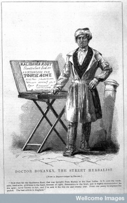 """Doctor Bokanky, street herbalist"": a quack selling a cure for tooth-ache in London, anon. after a daguerrotype by Beard. Engraving circa 1851"