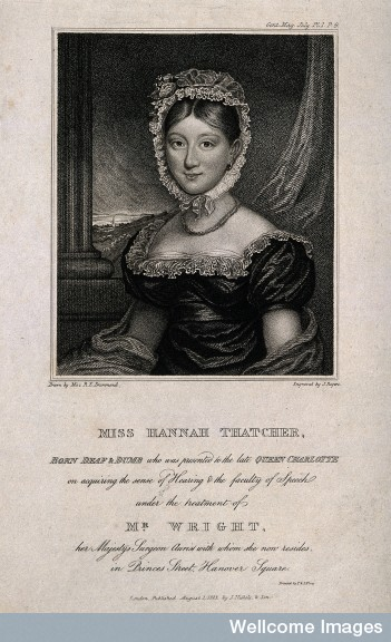 Hannah Thatcher, engraving from The Gentleman's Magazine (1823)