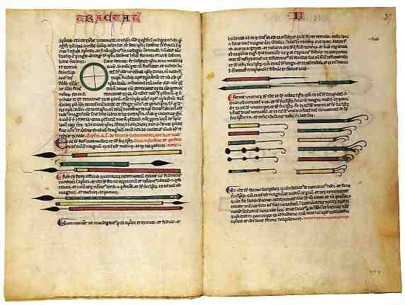 Two pages from an incunabulum of the 30th section of Al-Tasrif as translated to Latin in the 12th century by Gerard of Cremona.