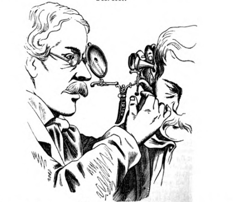 Let me inspect your ears... From: David Hayes Agnew, The principles and practice of surgery : being a treatise on surgical diseases and injuries (Philadelphia: J.B. Lippincott & co., 1878-83)
