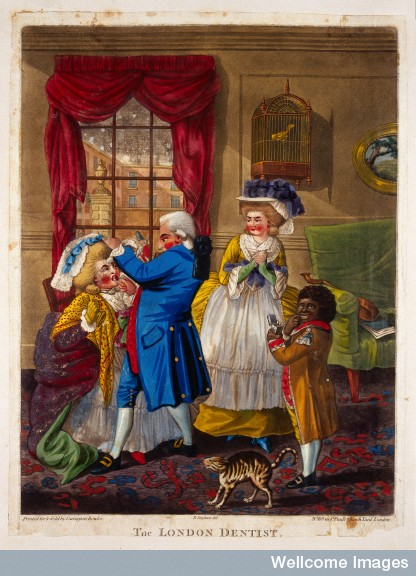 A London dentist extracting a tooth from a woman's mouth; her female companion and the dentist's black servant-boy (slave) are present.  By Robert Dighton, c.1784