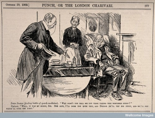 A doctor angry with his patient for trying quack medicine as well as his own prescription. Wood engraving by H.M. Brock, 1909. Wellcome Library Collection