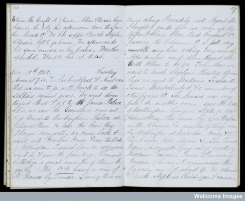 Page from James Patterson's diary, Christmas 1858 detailing his travels in London.