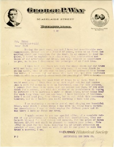 1922 letter from George P. Way to Mr.Thing. From: