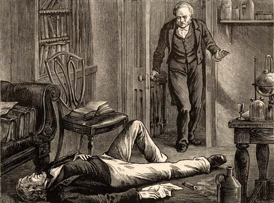 A familiar scene.  Sir James Young Simpson found unconscious following an experiment with chloroform. Lithograph: Edwin Hodder, c.1880