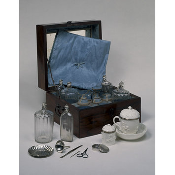 Toilet case, 1750.  Kingwood parquetry box with combined silver ear pick & tongue scraper  (Victoria and Albert Museum)