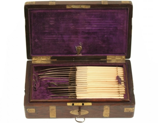 An ivory surgical presentation set, c.1868. It contains  a full complement of scalpels, bistouries, needle threaders and tenaculum hooks.  The lid compartment contains two scissors, one pair of scissor handled and two hand forceps. The lower tray contains a crosshatched ivory metacarpal saw, a director, two silver tracheotomy tubes, a crosshatched ivory and silver trocar and a pair of bone forceps. This was the Governor's Prize at Middlesex Hospital and awarded to Mr. Robert Harry Lords. (Phisick Medical Antiques)