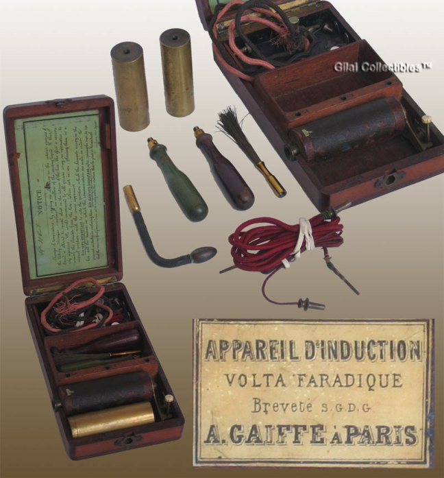 Shock machine developed by Adolphe Gaiffe (1830-1903) for treating nervous diseases. (Gilai Collectibles)